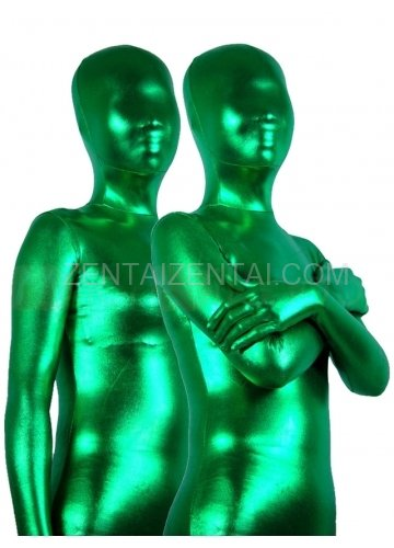Cool Green Shiny Metallic Unisex Morph Zentai Suit