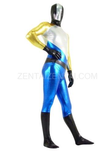 Gold Silver Black And Blue Shiny Metallic Super Hero Morph Zentai Suit