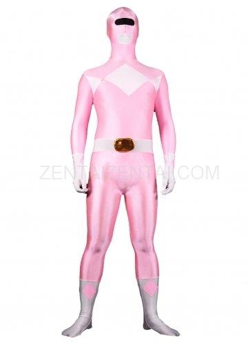 Pink with White Lycra Spandex Unisex Morph Zentai Suit