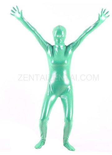 Quality Green Silver Dot PVC Breathable Unisex  Morph Zentai