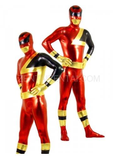 Red and Black Shiny Metallic  Super Hero Unisex Morph Zentai Catsuit