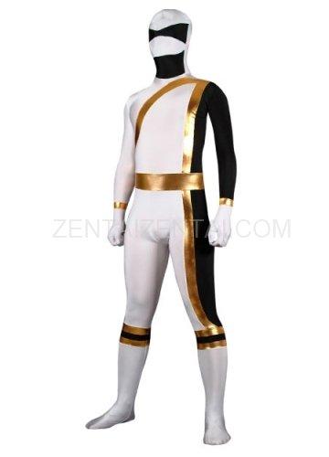 White And Gold Lycra Spandex Shiny Metallic Super Hero Morph Zentai Suit