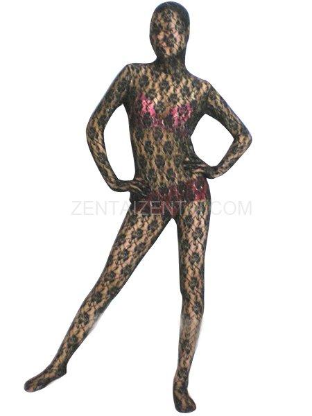 Black Transparent Lace Velour Morph Zentai Suit