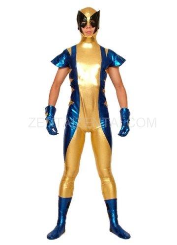 Gold Blue And Black Shiny Metallic Super Hero Morph Zentai Suit