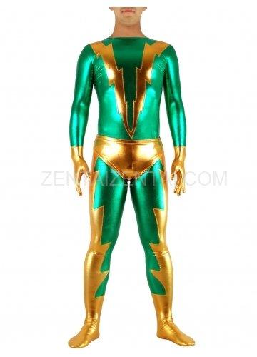 Green & Golden Shiny Metallic Morph Zentai Suit