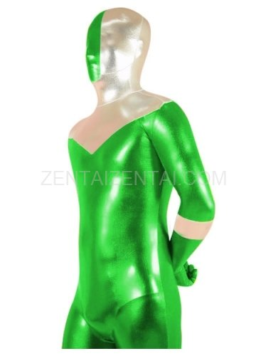 Green And Silver Shiny Metallic Super Hero Morph Zentai Suit