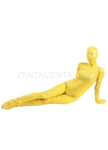 Yellow Shiny Metallic Golden Stripes Breathable Elastic Morph Zentai