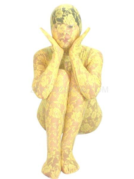 Yellow Transparent Lace Velour Morph Zentai Suit