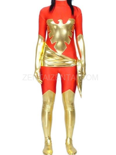 Red Lycra Spandex Unisex Catsuit with Gold Shiny Metallic Phoenix