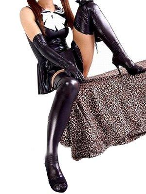 Black Shiny Metallic Bowknot Mini Skirt Suit