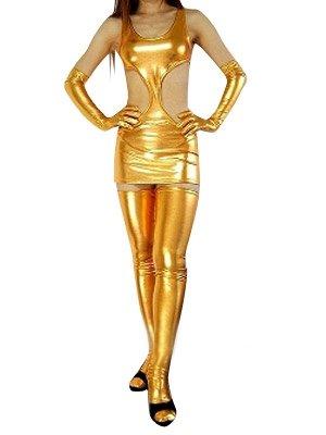 Suitable Gold Shiny Metallic Sexy Dress