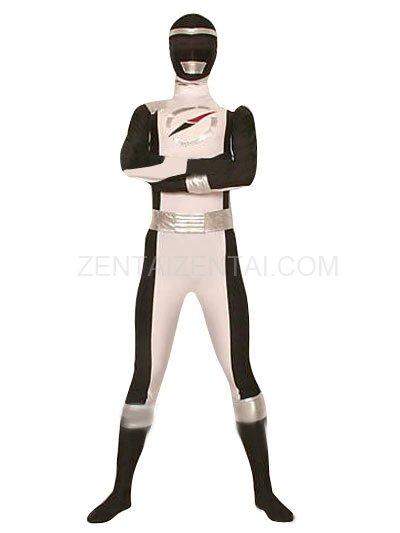 Black And White GouGou Senta Lycra Shiny Metallic Super Hero Costume