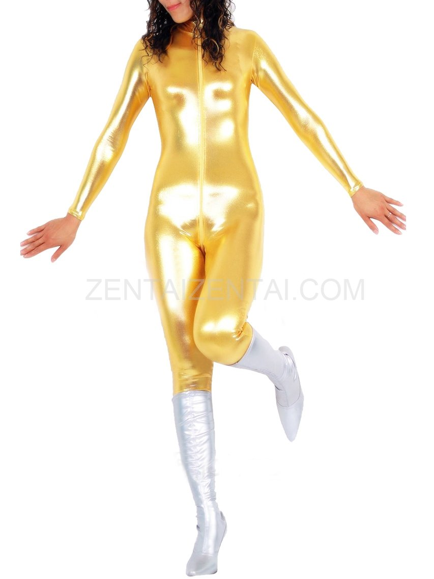 Golden Shiny Metallic Front Open Unisex Catsuit