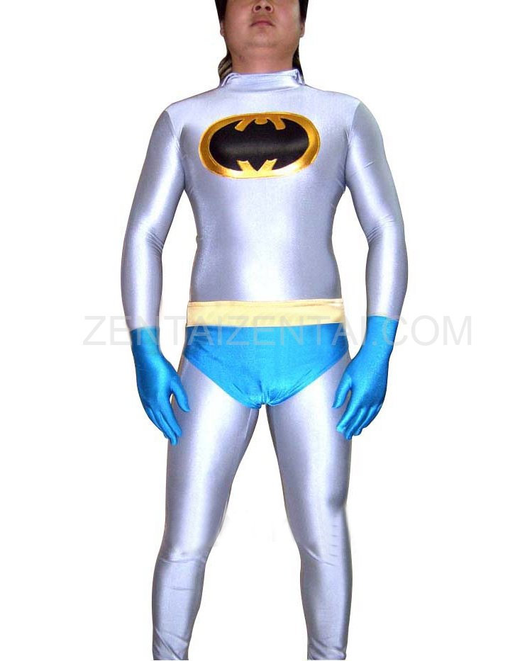 Lycra Spandex Unisex Batman Catsuit with Underwear and Gloves