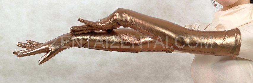 ZENTAI Brown Shiny Metallic Gloves