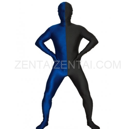 Black And Royal blue Fullbody Full Body Lycra Spandex Morph Zentai Suits Split Morph Zentai Suit