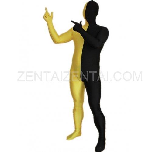 Black And Yellow Fullbody Full Body Lycra Spandex Morph Zentai Suits Split Morph Zentai Suit