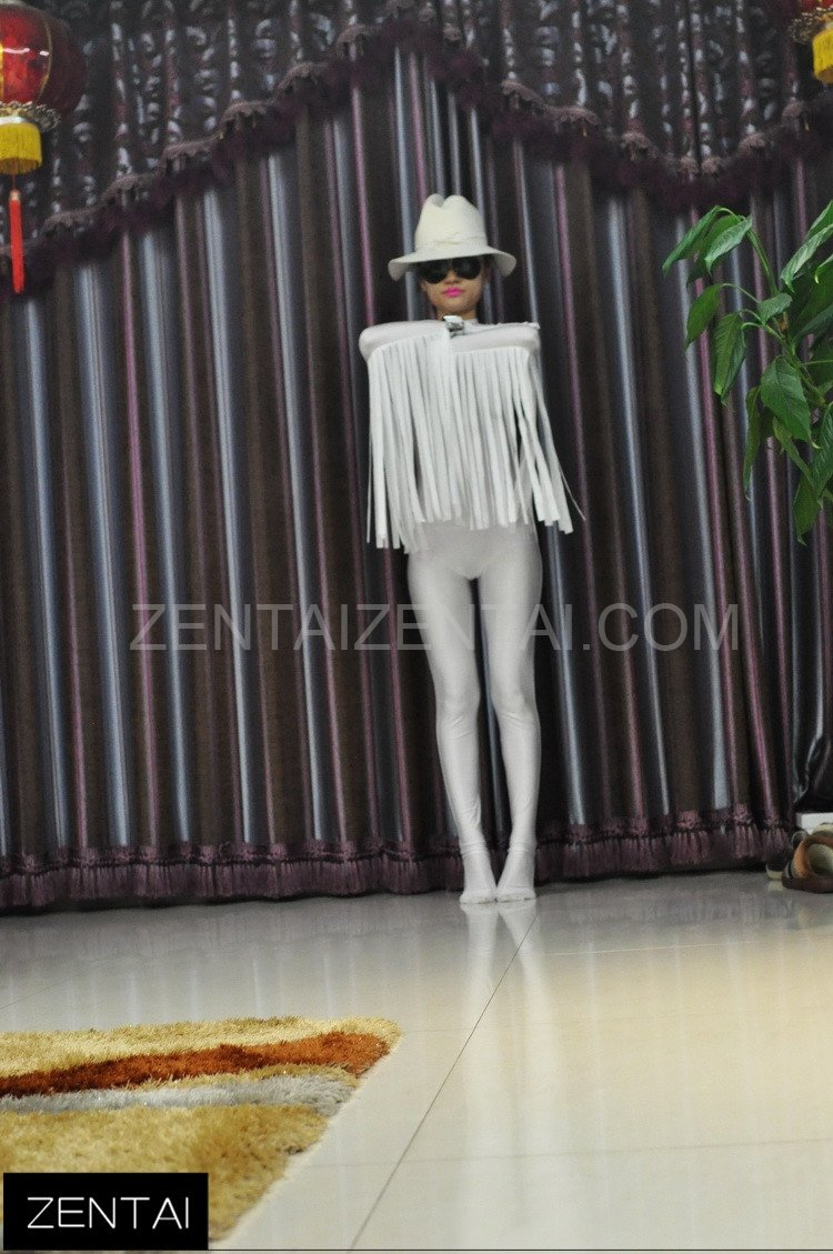 Cowboy Style Fringed White Lycra Tights Soft Breathable and Elastic Morph Zentai Suits Costume
