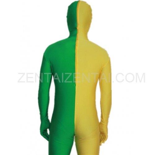 Green And Yellow Fullbody Full Body Lycra Spandex Morph Zentai Suits Split Morph Zentai Suit