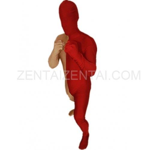 Maroon And Gold Fullbody Full Body Lycra Spandex Morph Zentai Suits Split Morph Zentai Suit