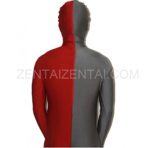 Maroon And Gray Fullbody Full Body Lycra Spandex Morph Zentai Suits Split Morph Zentai Suit