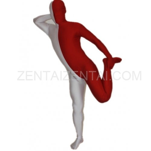 Maroon And White Fullbody Full Body Lycra Spandex Morph Zentai Suits Split Morph Zentai Suit