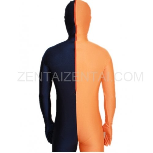 Navy blue And Orange Fullbody Full Body Lycra Spandex Morph Zentai Suits Split Morph Zentai Suit