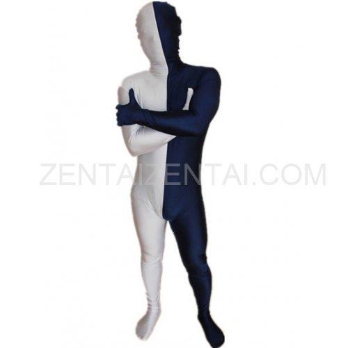Navy blue And White Fullbody Full Body Lycra Spandex Morph Zentai Suits Split Morph Zentai Suit