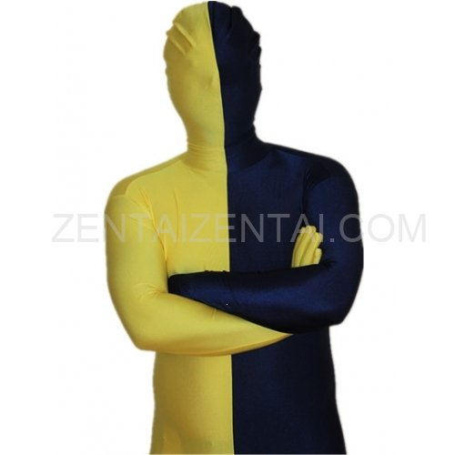 Navy blue And Yellow Fullbody Full Body Lycra Spandex Morph Zentai Suits Split Morph Zentai Suit