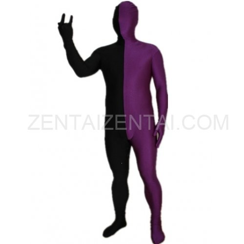 Purple And Black Fullbody Full Body Lycra Spandex Morph Zentai Suits Split Morph Zentai Suit