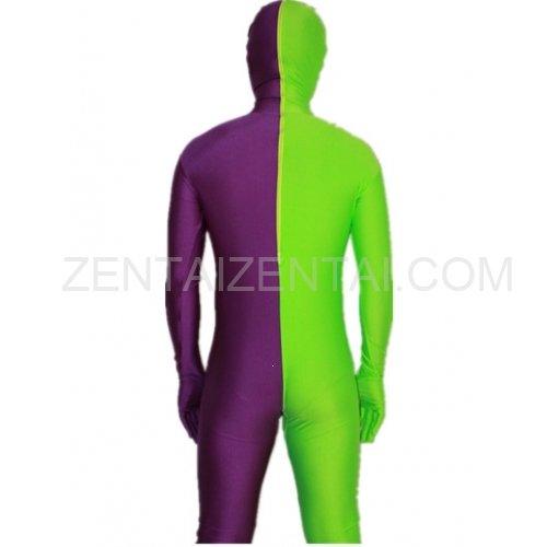 Purple And Lime green Fullbody Full Body Lycra Spandex Morph Zentai Suits Split Morph Zentai Suit