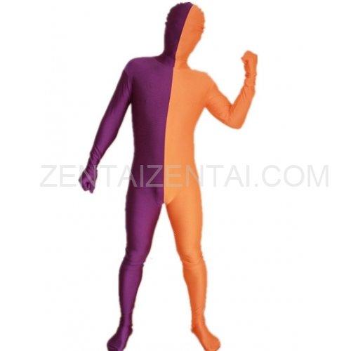 Purple And Orange Fullbody Full Body Lycra Spandex Morph Zentai Suits Split Morph Zentai Suit