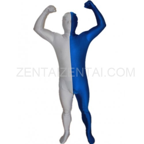 Royal Blue And White Fullbody Full Body Lycra Spandex Morph Zentai Suits Split Morph Zentai Suit