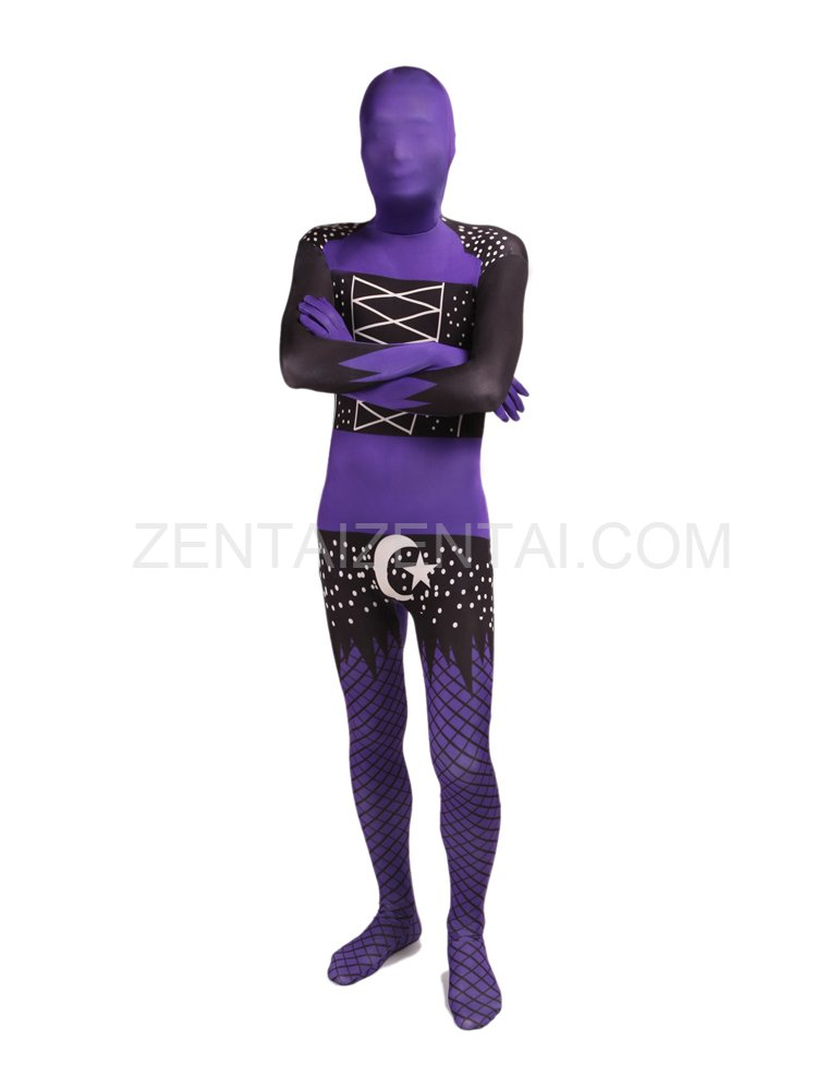 Black and Purple Full Body Halloween Spandex Holiday Unisex Cosplay Zentai Suit