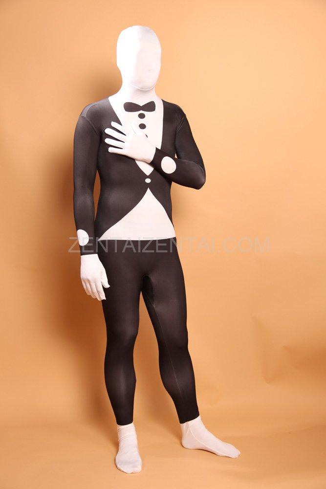 Black and White Halloween Bowtie Full Body Spandex Holiday Unisex Lycra Morph Zentai Suit
