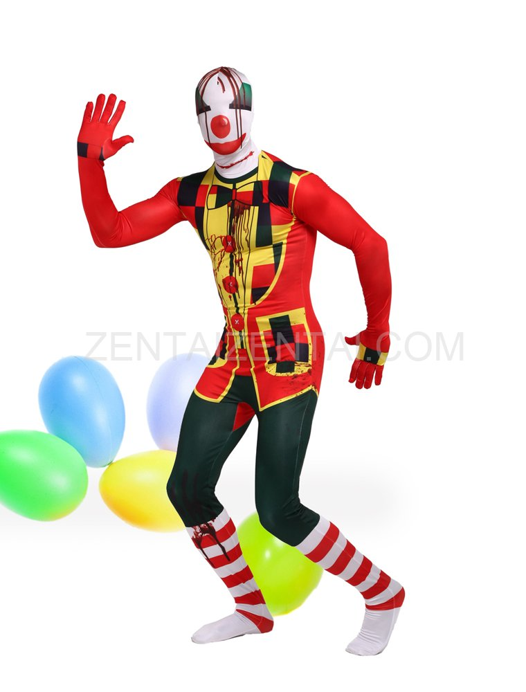 Colorful Clown Full Body Halloween Spandex Holiday Unisex Cosplay Zentai Suit