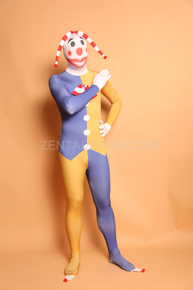 Mixed Color Clown Full Body Halloween Spandex Holiday Unisex Cosplay Zentai Suit