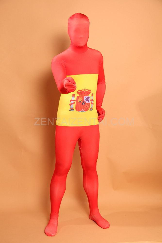 Spain National Flag Full Body Halloween Spandex Holiday Unisex Cosplay Zentai Suit